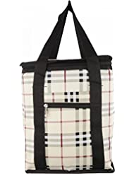 Indian Stallion Insulated Burberry Print Cream Lunch Bag Cover With Black Handles (Medium)