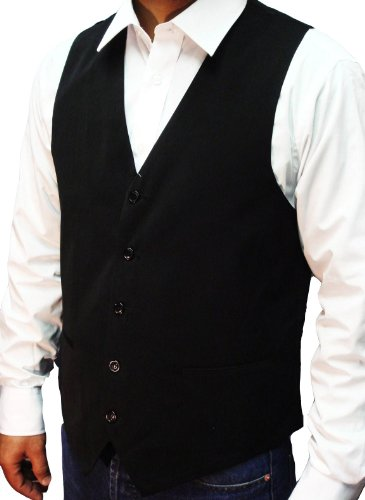 NEW MEN'S BLACK WAISTCOAT SUPERB HIGH STREET QUALITY, Size-Large 42