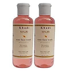 Khadi Mauri Rose Face Wash Pack of 2 Herbal Natural Ayurvedic 210 ml each