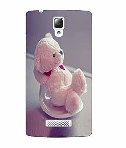 Make My Print Teddy Bear Printed Pink Soft Back Cover For Lenovo A2010