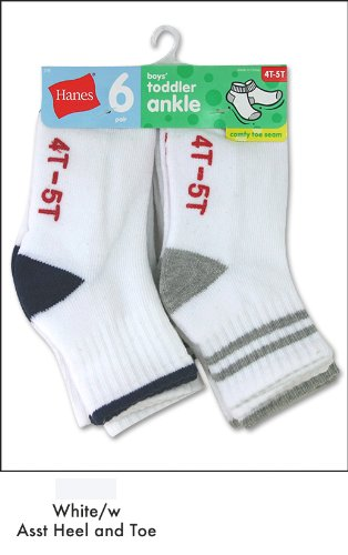 Hanes Toddler Boys Non-Skid Ankle Socks # 27/6