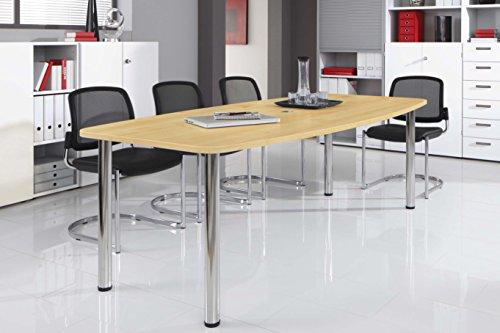 Bm-Konferenztisch-rund-oval-Besprechungstisch-mit-Chromfu-hochwertiger-Meetingtisch-in-2-Gren-und-6-Farben-Ahorn-220-x-103-cm