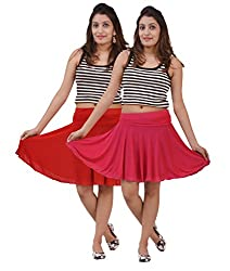 Carrol short Skirt-(Pack of 2 Red and Rani pink)