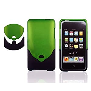 2Tone Rubberized Hard Case for Apple iPod Touch iTouch 2G/3G - 8GB, 16GB, 32GB and 64GB - Green/Black