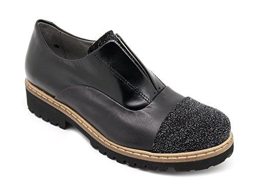 Felmini scarpe francesine donna, chiusura elastici, tomaia pelle nera e fondo gomma (EU 40)