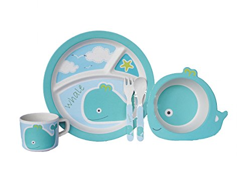 Bamboo Fiber Funny Kids Set Whale Bpa Free, Non-Toxic [Free Baby Meal Organic Supplement]