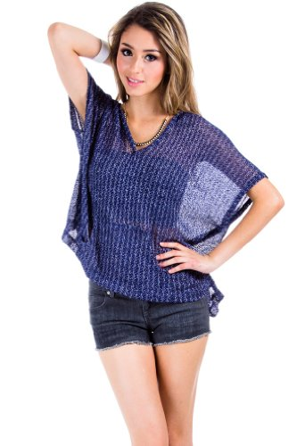 Hooded Loose Knit Poncho in Blue