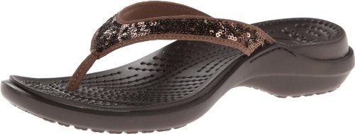 Crocs Womens Women'S Capri Sequin Flat,Bronze/Espresso,6 M Us front-38596