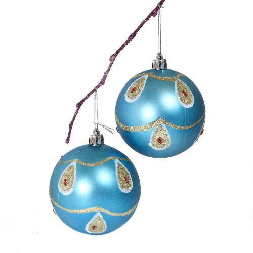 2-Piece Shatterproof Ornaments BluePeacock & Acrylic Diamond