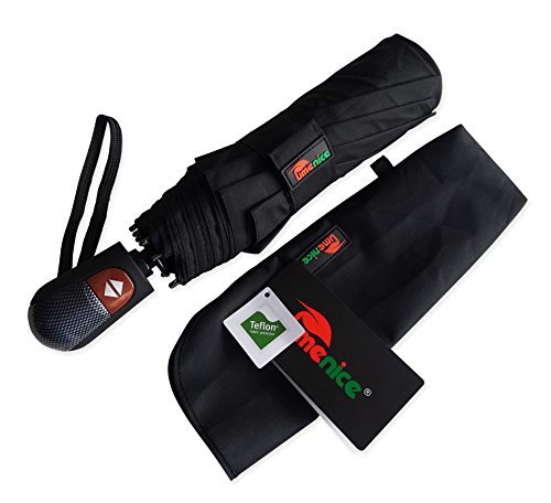Umenice Automaitc 9-Rib Travel Umbrella Windproof With 210T Fabric Teflon Black