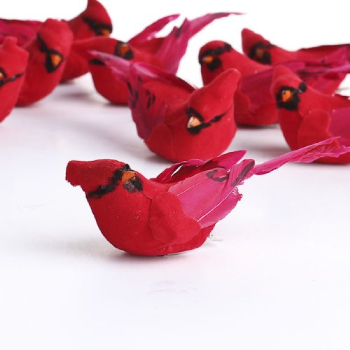 factory-direct-craft-package-of-12-artificial-bright-red-sitting-cardinal-mushroom-birds-for-craftin