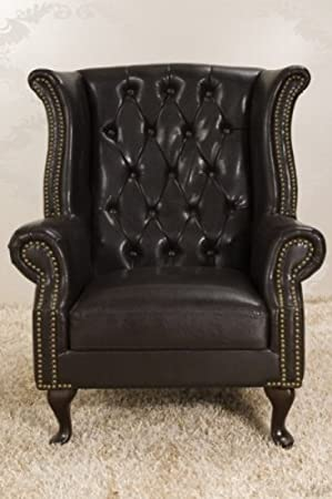 Chesterfield armchair dark brown wing chair from the house of Casa Padrino - 9690