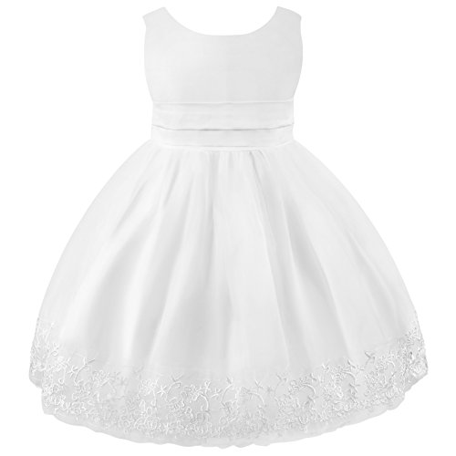 Mingao Flower Girl Dress White Lace Wedding Princess Party 6-7 Years)