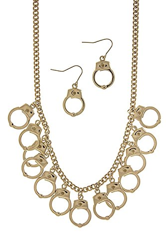 [KARMAS CANVAS HANDCUFF DANGLE NECKLACE (Gold)] (Lobster Claw Costume Pattern)