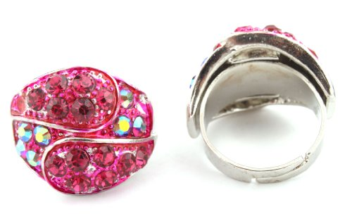Ladies Iced Out Two Tone Silver with Fuchsia Double Overlapping Style Adjustable Finger Ring