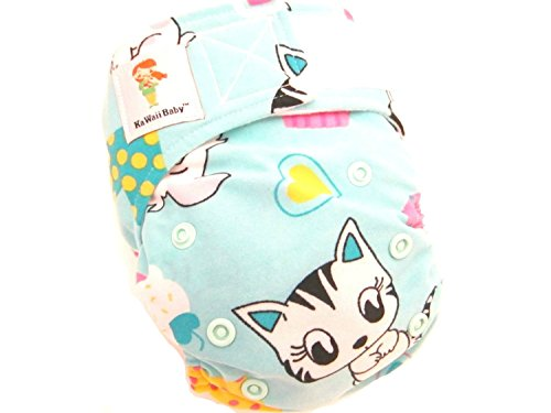 "Kawaii Baby Newborn Reusable Cloth Diaper Pure & Natural 6 - 22 Lb. With 2 Microfiber Inserts "" Meow, Meow """