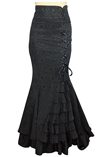 Shimmery-Night-in-London-Jacquard-Fishtail-Victorian-Vintage-Style-Black-Skirt