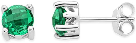 Byjoy 925 Sterling Silver Round Cut Emerald Stud Earrings BAE381E