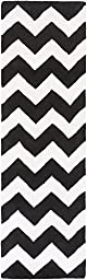 Black Wool Rug Contemporary Design 2-Foot 3-Inch x 14-Foot Hand-Made Chevron