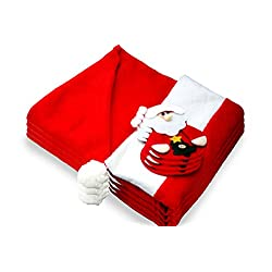 Santa Claus Hat Chair Cover with Silverware Holder Pocket - 8 Pack - Christmas Slipcovers Decoration - For Parties, Events and to spread the Christmas Spirit!