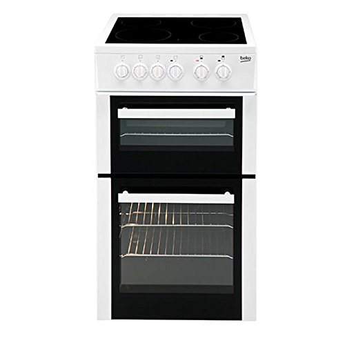 Beko BCDVC503W 500mm Double Electric Cooker Ceramic Hob White