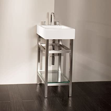 Lacava Free-standing console stand made of brushed stainless steel for lavatory 5072, with one wooden shelf and towel bars, 1
