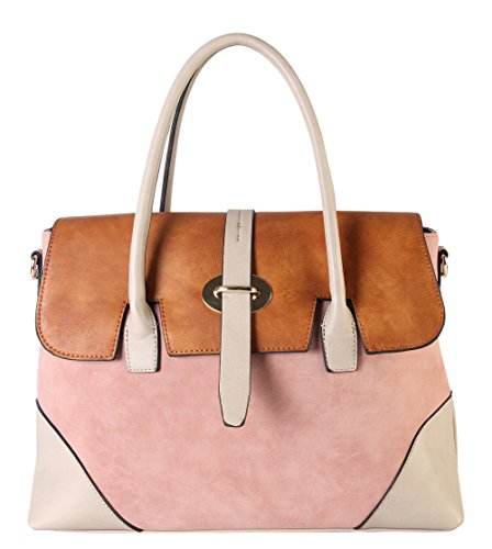 diophy-pu-leather-three-tone-zipper-closure-bayswater-womens-purse-shoulder-handbag-cl-3501-pink