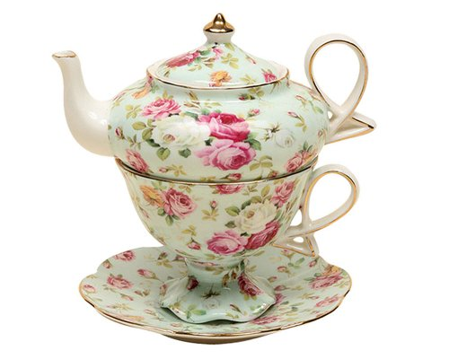 Lowest Prices! Gracie China 4-Piece Porcelain Tea for One, Stacked Teapot Cup Saucer, Blue Cottage Rose Chintz
