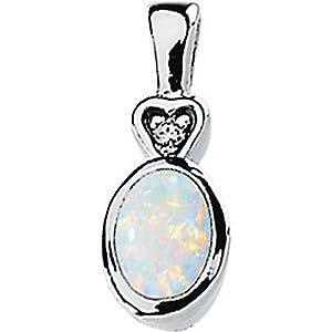 Genuine IceCarats Designer Jewelry Gift 14K White Gold Genuine Opal And Diamond Pendant 07.00X05.00Mm