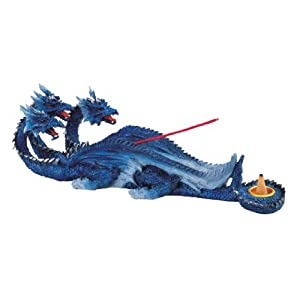 Blue Three Headed Dragon Incense Burner - Poly Resin Figurine - Width 11.5 inches - Height 3.75 inches