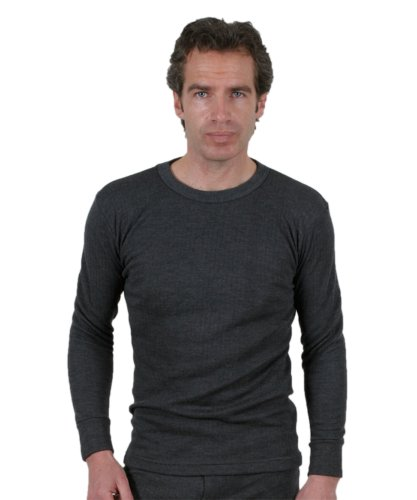 3 Pack Of Mens Thermal Underwear Round Neck Long Sleeve Vest Denim, Various Sizes