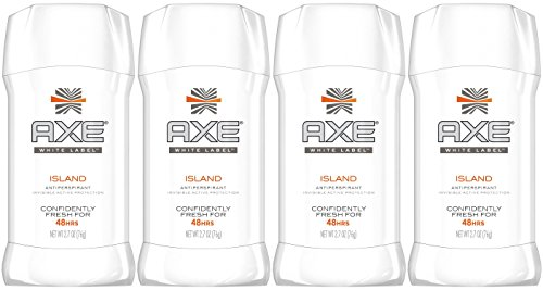 AXE White Label Antiperspirant, Island Invisible Solid, 2.7 Ounce (Pack of 4)
