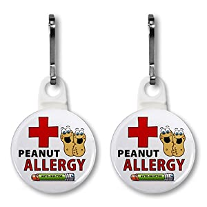 PEANUT ALLERGY Green EpiPen Medical Alert Pair of 1 inch White Zipper Pull Charms from Creative Clam