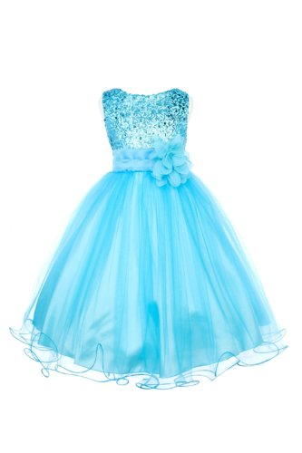 Absolutely Beautiful Sequined Bodice With Double Tulle Skirt Party Flower Girl Dress-Kd305-Turquoise-8 front-838342
