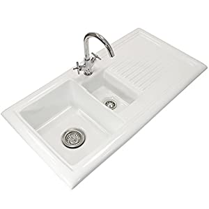 Small Ceramic Kitchen Sink With Drainer : Kitchen Sink with 1.5 Bowl White Ceramic Inset Basin - Right Hand ...