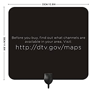 FLYMEI 35 Miles Range HDTV Antenna - Super Thin HDTV Indoor Antenna - 10ft Coax Cable - the Highest Performance and Longest Reception with the Best Price - Black