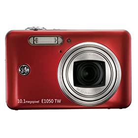 GE E1050TW-RD 10 MP Digital Camera with 5X Optical Zoom and 3.0-Inch Touch Screen LCD with Auto Brightness