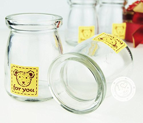 Bestag 4 Pcs/pack Cute Dessert Cruets Pudding Yogurt Milk Jelly Glass Jars Cup Bottle Set Oven Safe (100ml Bear) (Oven Safe Glass Jars compare prices)