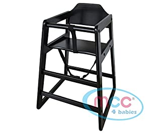 MCC Black Stackable Wooden Baby Highchair High Chair home & commercial restaurants