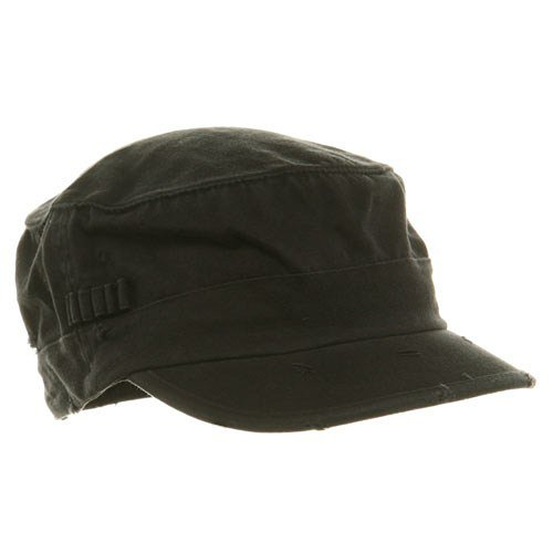 Washed Cotton Fitted Army Cap-Black W32S34E