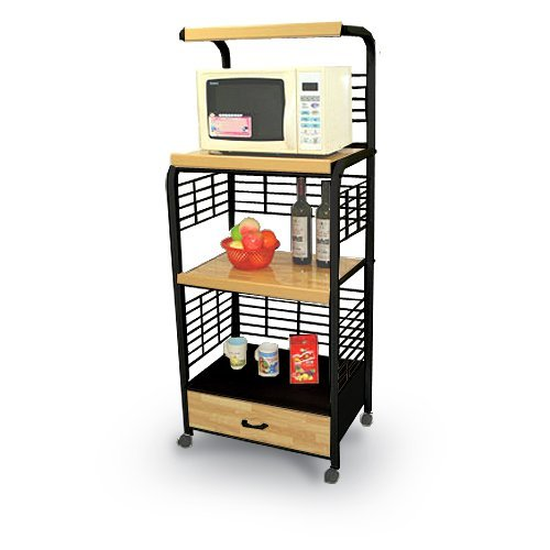 Black Kitchen Rolling Microwave Cart with Power Strip (Microwave Cart Grounded compare prices)