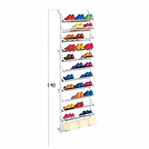 lynk 36 pair over the door shoe rack closet door shoe rack. Black Bedroom Furniture Sets. Home Design Ideas