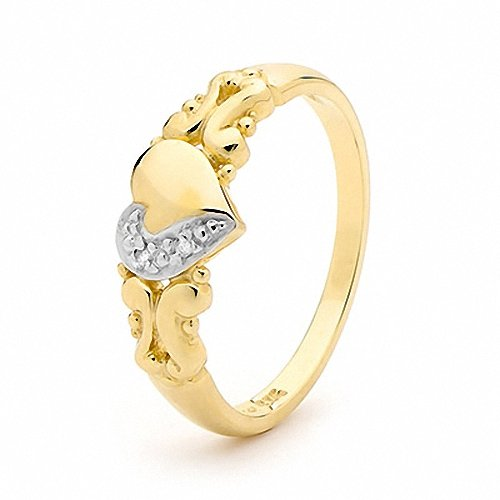From SYDNEY 9ct Solid Yellow Gold Romantic Love Ring w/ Bee Heart Band Ring Diamond P 7.75 22790