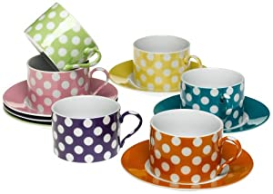 Yedi Houseware Classic Coffee and Tea Teacups and Saucers, White Dots, Set of 6
