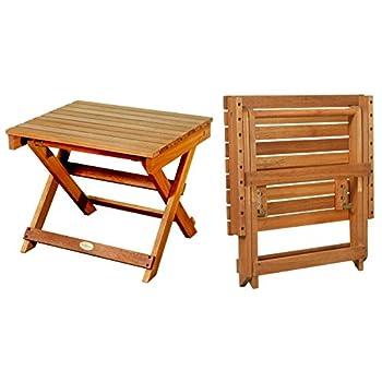 LuuNguyen Outdoor Hardwood Folding Side Table, Natural Wood Finish