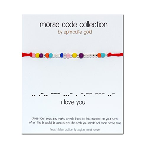 "Morse Code Red-Braccialetto portafortuna, in corda, con scritta ""I Love You"""