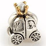 Soufeel Two Tone Sterling Silver Golden Pumpkin Carriage Charms Fit Pandora Bracelets