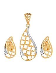 Avanishk Jewels Gold Plated Silver Earrings And Pendant Set For Women - B00XY25T48