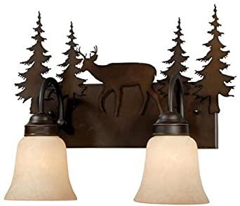 Vaxcel usa vl55402bbz bryce 2 light rustic bathroom vanity Rustic bathroom vanity light fixtures
