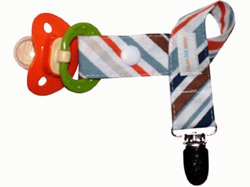 Boys Pacifier Clip- Modern Blue, Brown & Orange Stripe front-753519